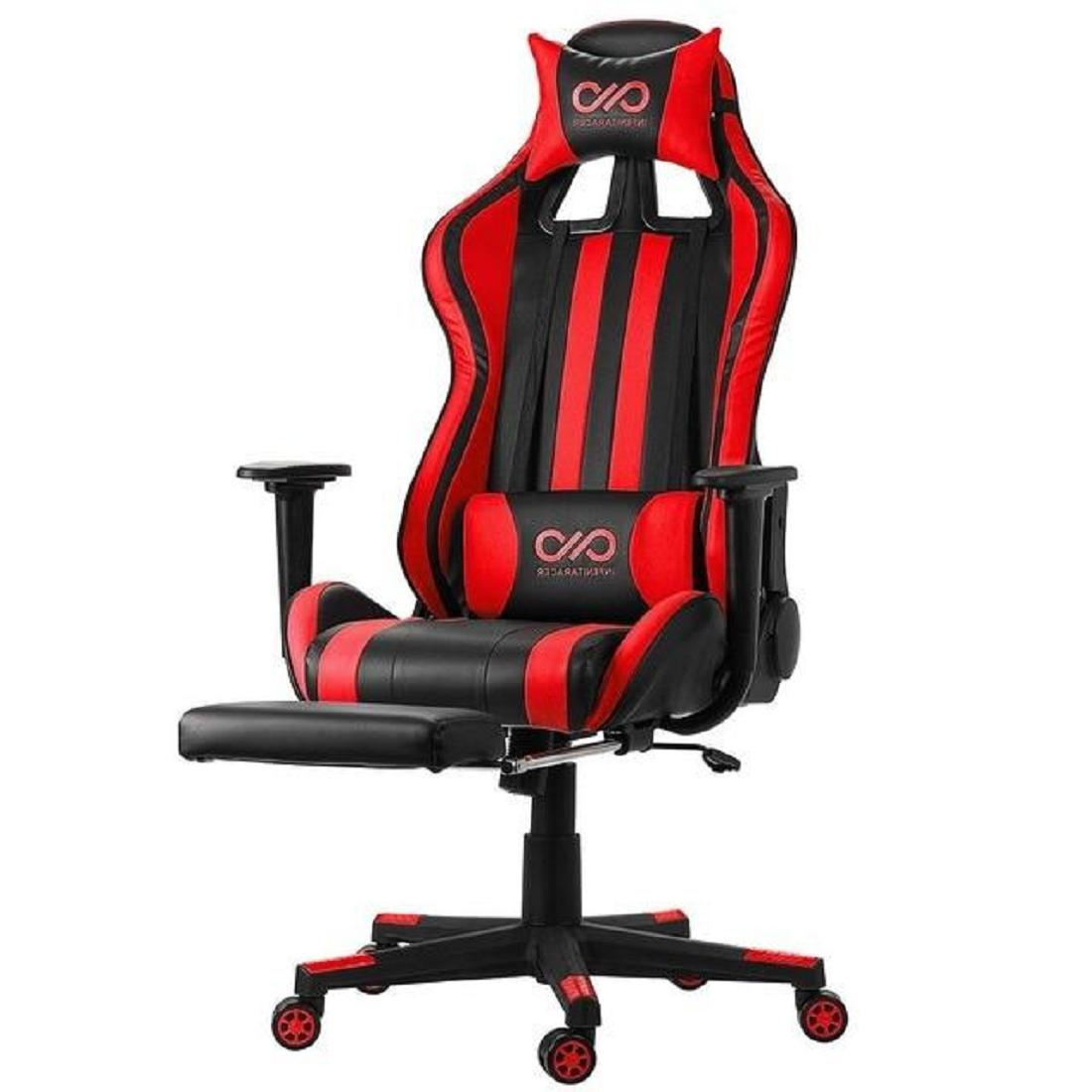 Lumbar High Back Leather Gaming Chair with Armrest Footrest