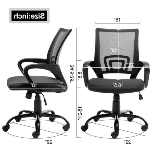 Ergonomic Mesh Chair Mid-back Computer Office Chair Metal Black