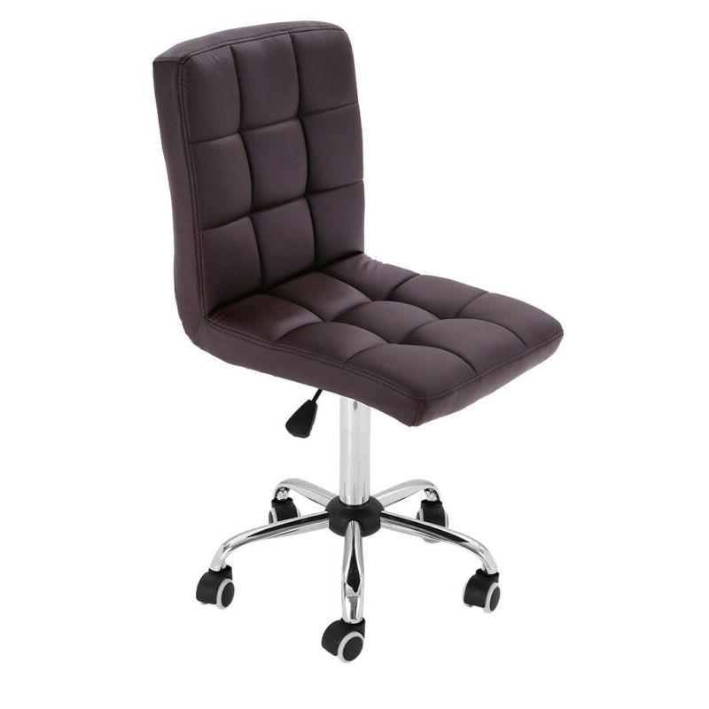 Office Armless Stool Swivel Seat PU Leather