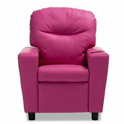 Baxton Evonka Pink Leather Recliner Chair