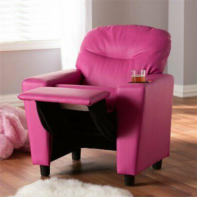 Baxton Evonka Magenta Pink Leather Recliner Chair