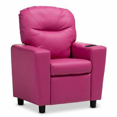 evonka magenta pink faux leather kids recliner