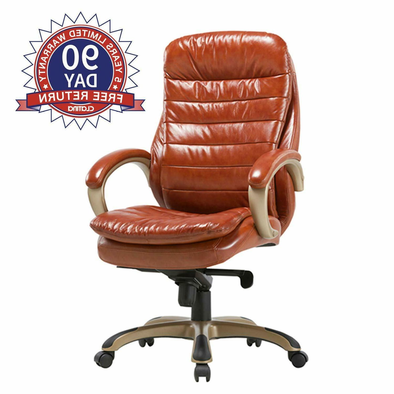 Executive Bonded Leather Chair Comfort Padding Ergonomic Sea