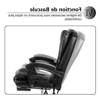 Executive Office Chair Gaming Leather High Back Recliner