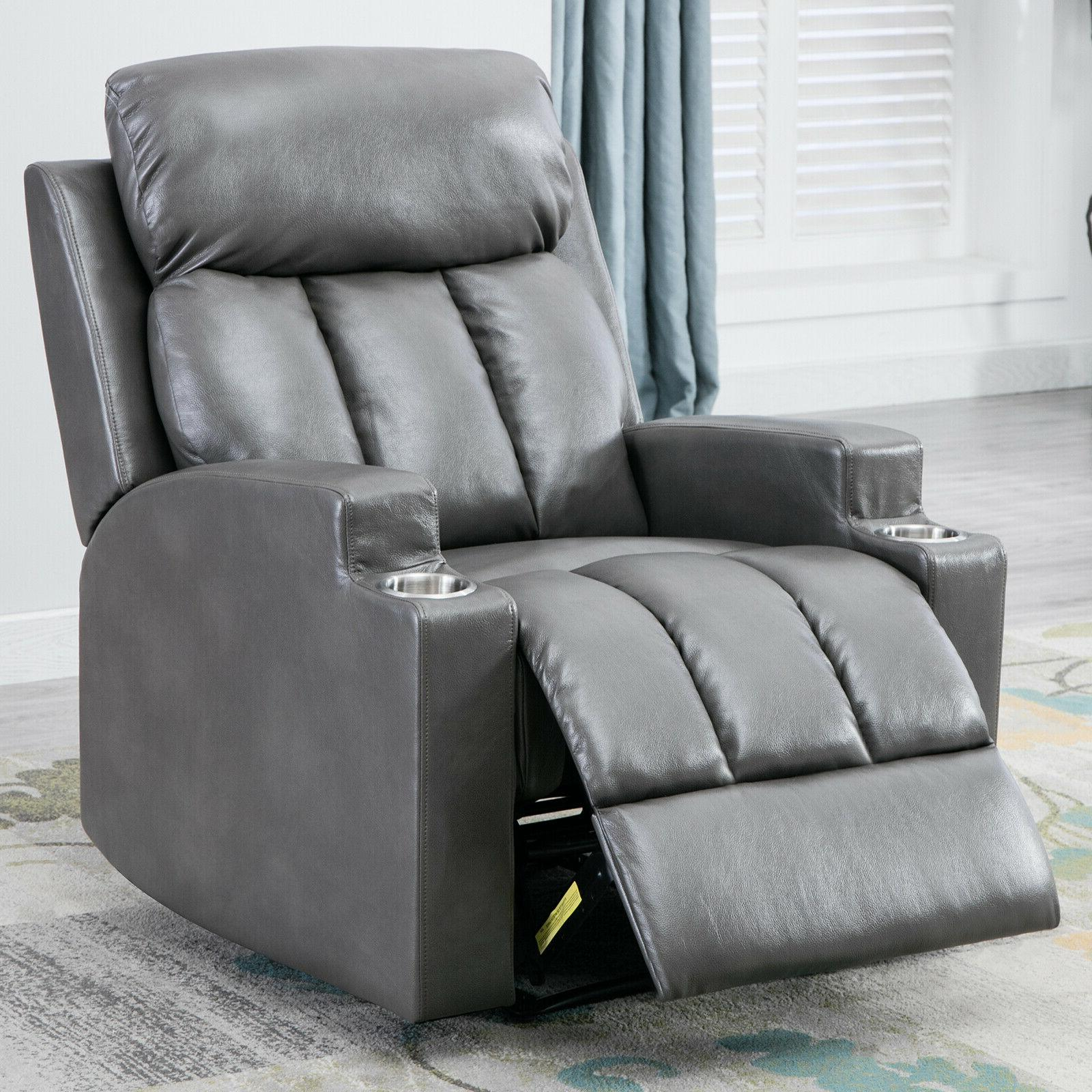Leather Recliner Backrest Cup Holders Seating