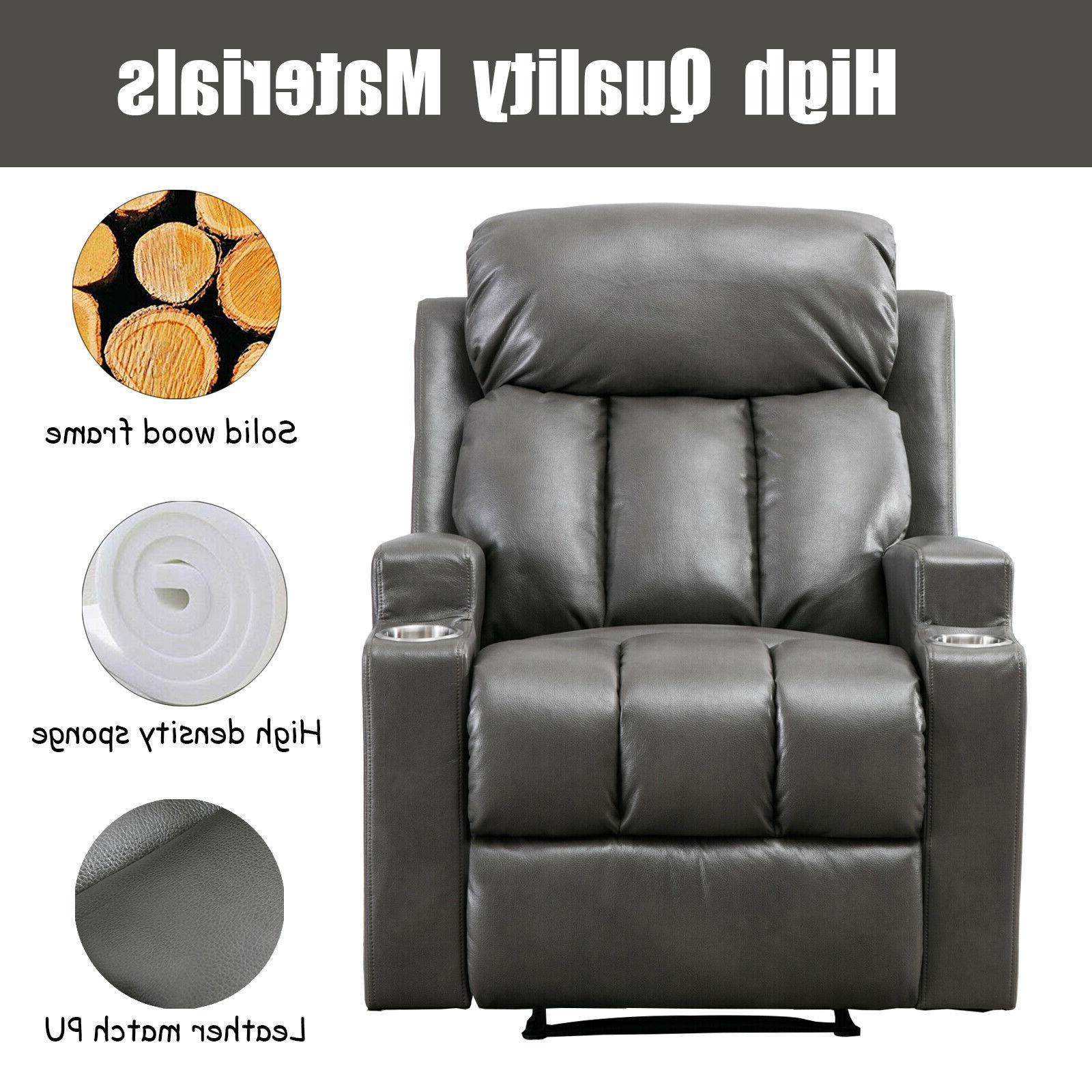 Leather Recliner Chair Backrest Sofa Cup Home