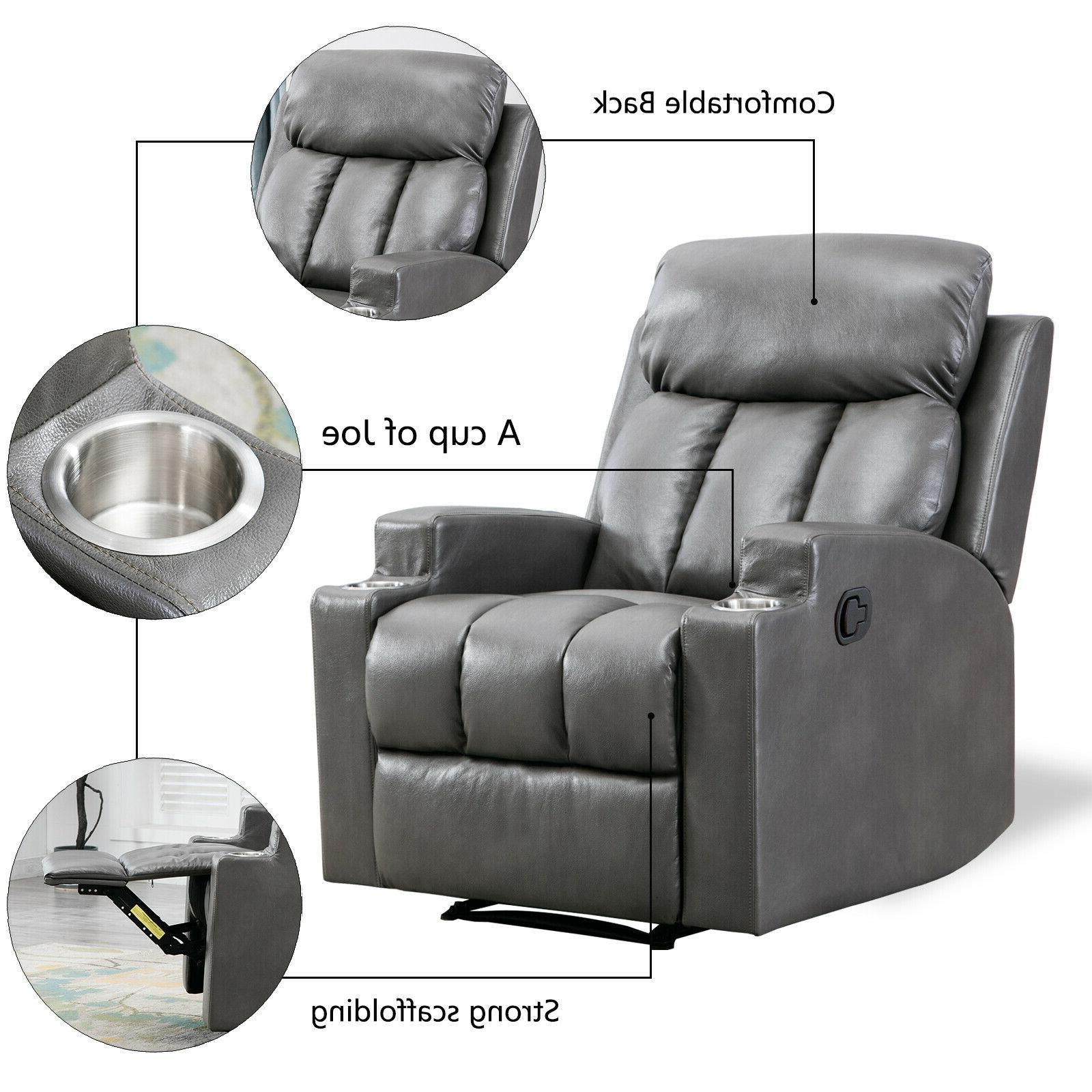 Leather Recliner Thick Backrest Sofa w/ Cup Holders Seating