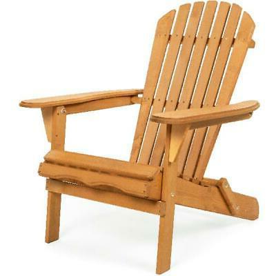 Foldable Wooden Outdoor Adirondack Chair Patio Lawn Deck Gar