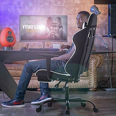 Gaming Chair Ergonomic Swivel High Racing Chair, With Footrest, And