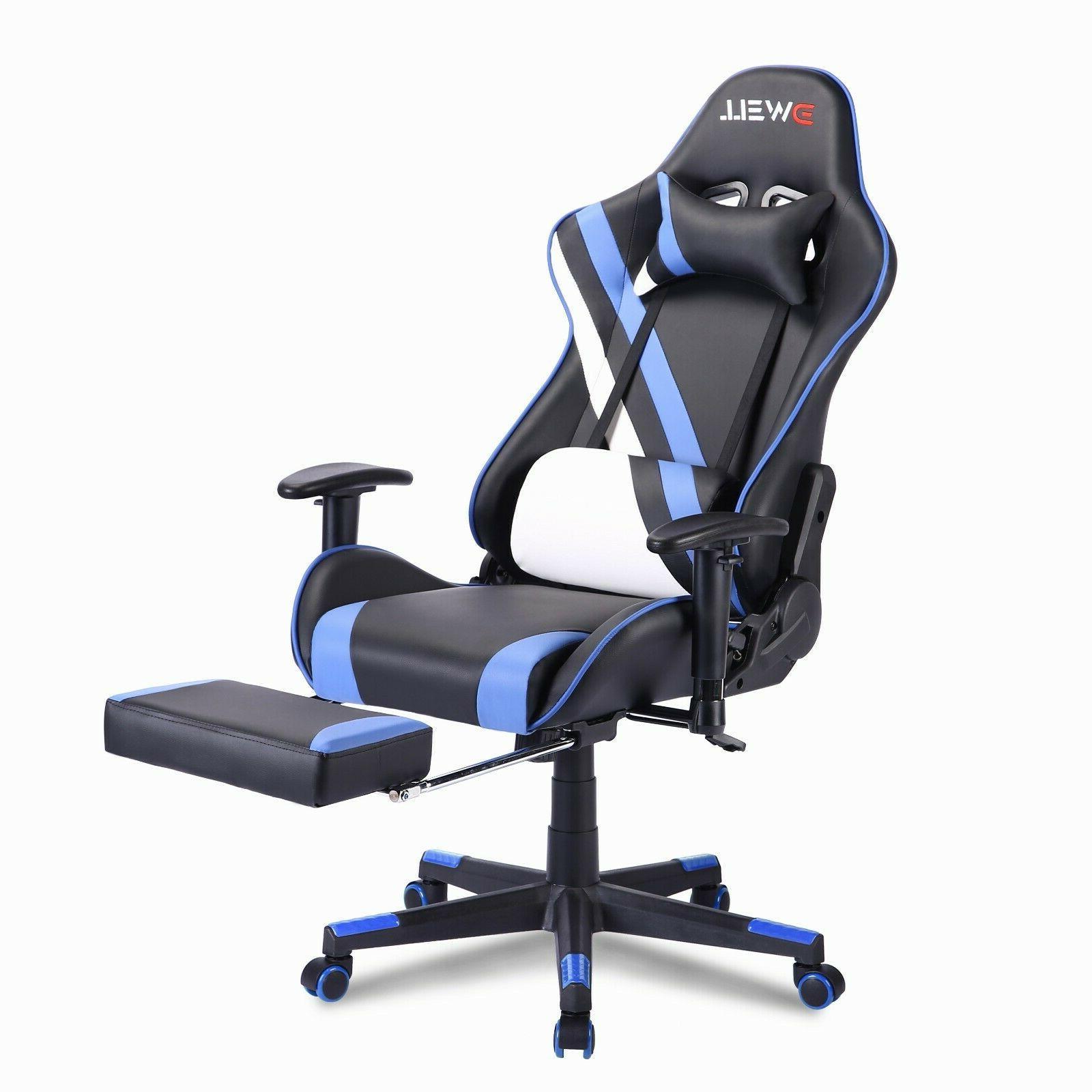 Racing Gaming Chair Recliner Footrest Swivel Computer Desk C
