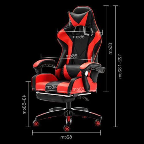 Recliner Desk PU Leather Seat w/Footrest