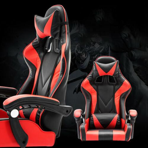 Racing Chair Recliner Computer Desk PU Leather US
