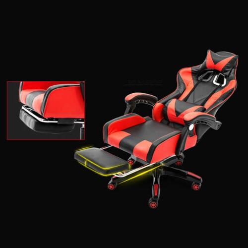 Racing Video Gaming Chair Recliner Desk Leather Seat w/Footrest