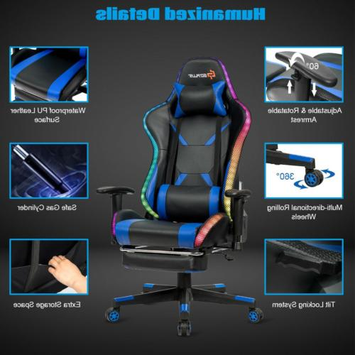 Gaming Racing Chair w/RGB & Support Re