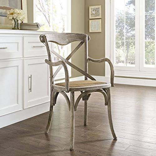 Modway Gear Cross Solid Elm Wood Armchair Rattan Seat