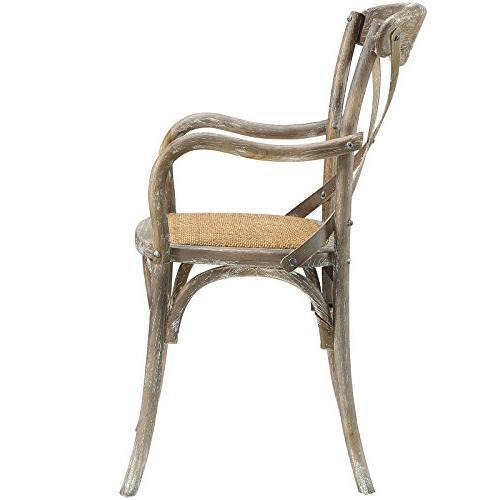 Modway Modern Cross Back Solid Elm Wood Armchair Rattan Seat In