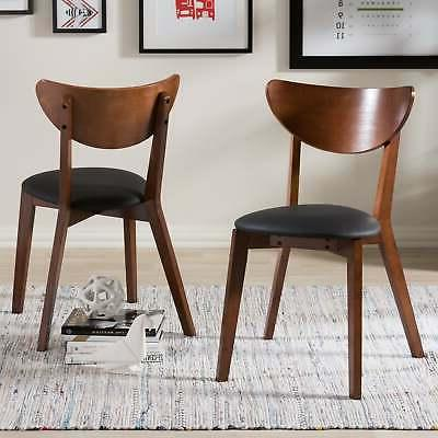 Baxton Studio Haides Mid-Century Walnut Brown and Black Faux