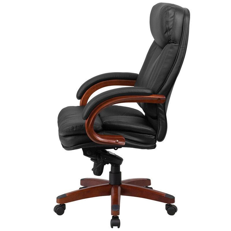 High Back Black Executive Chair Mahogany Wood Arms