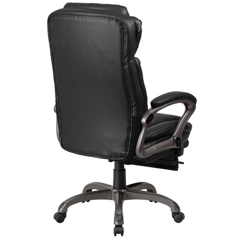 High Back Black Leather Executive Reclining Chair with Padded Arm