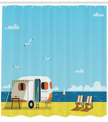 illustration of summertime caravan coastline seagull print