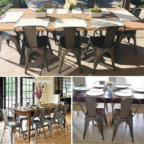 Iron Dining Stackable Chairs with Back Set of 4