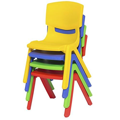 Best Products Set of Plastic Stacking School Chairs, 10 Colorful Seat