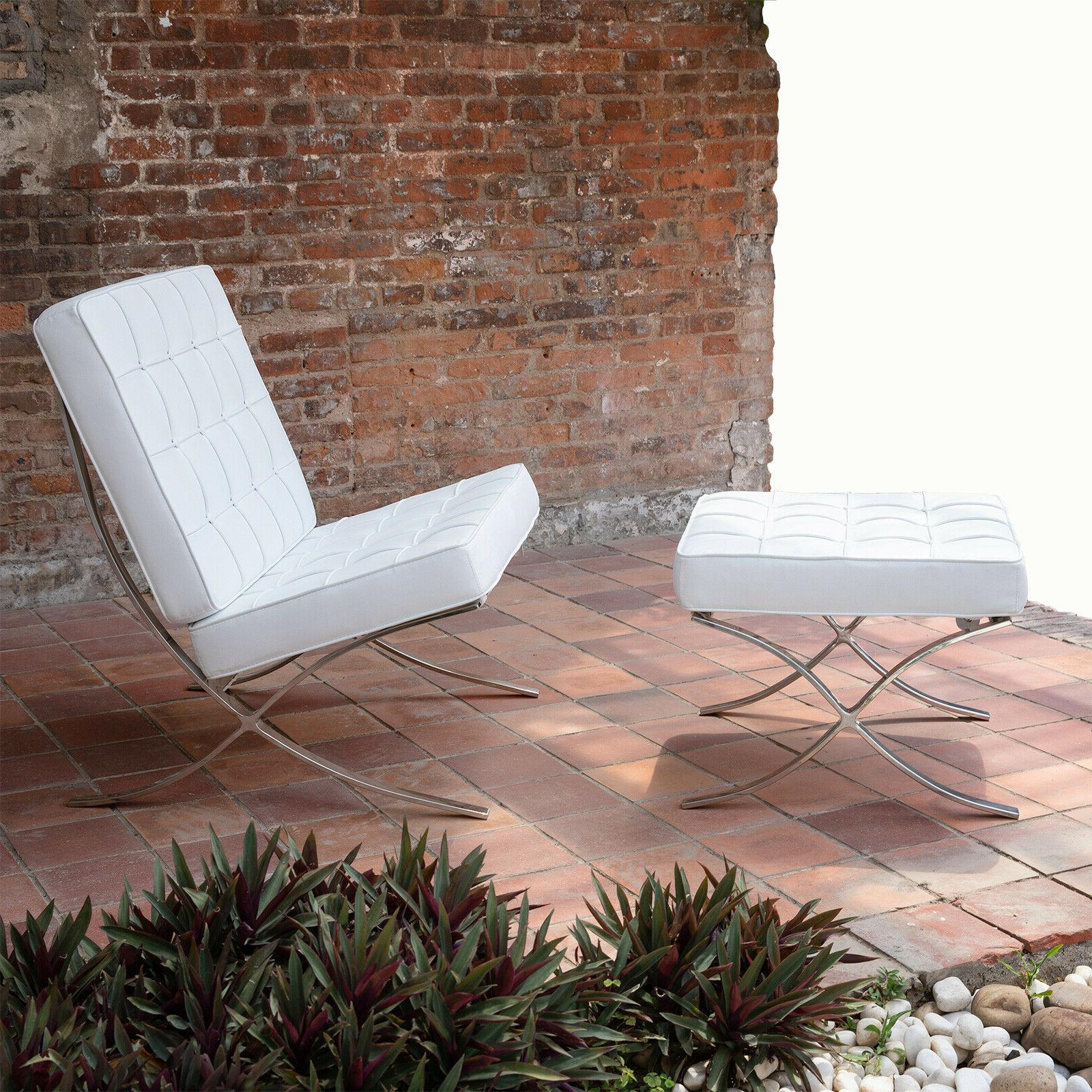 leather barcelona chair single seat sofa accent