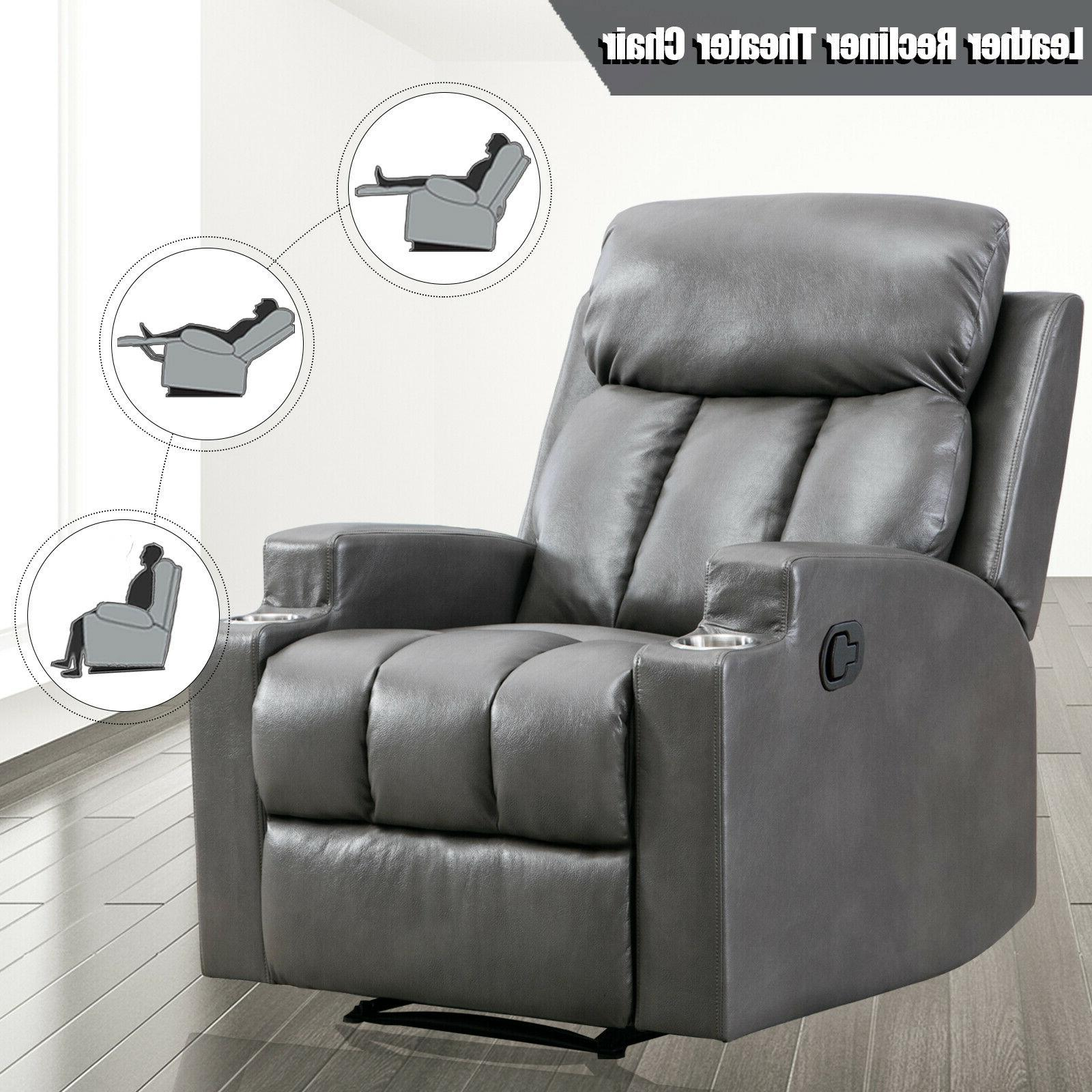 leather recliner chair thick backrest sofa w