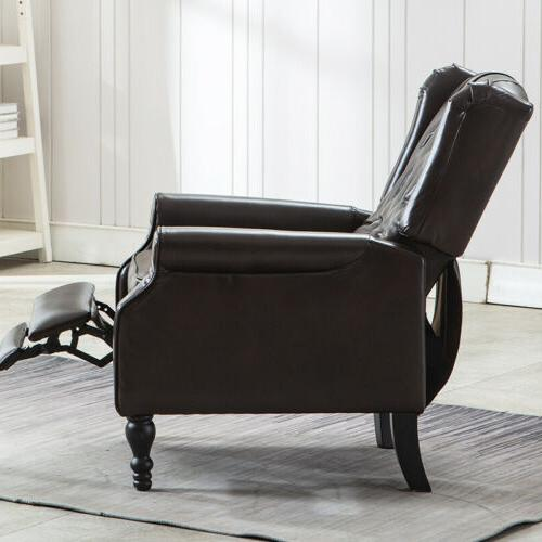 Leather Recliner Wingback Accent Club Chair for Living Room Padded