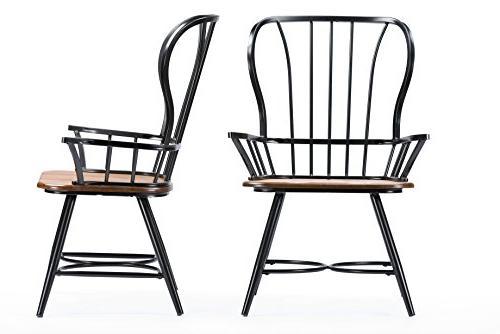 Baxton Studio Wood and Black Metal Vintage Arm Chair