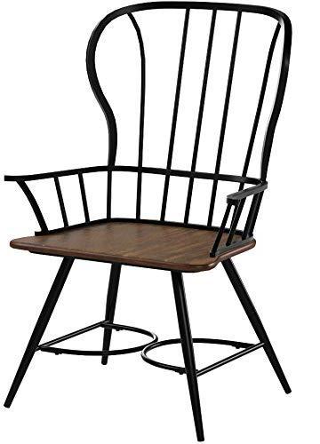 Baxton Dark-Walnut Wood Metal Vintage Industrial Dining Chair