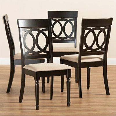 Baxton Studio Lucie Sand Espresso Brown Finished Dining Chair