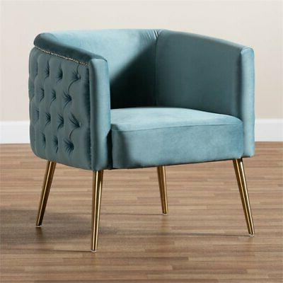 Baxton Studio Blue Velvet Accent Chair