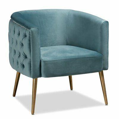 marcelle light blue velvet accent chair