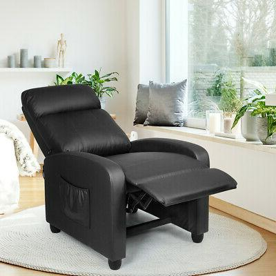 Massage Chair Single Sofa PU Padded Seat Footrest Black