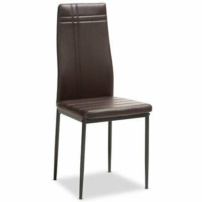 Baxton Leather Dining in Brown