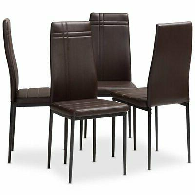 matiese faux leather dining chair in brown