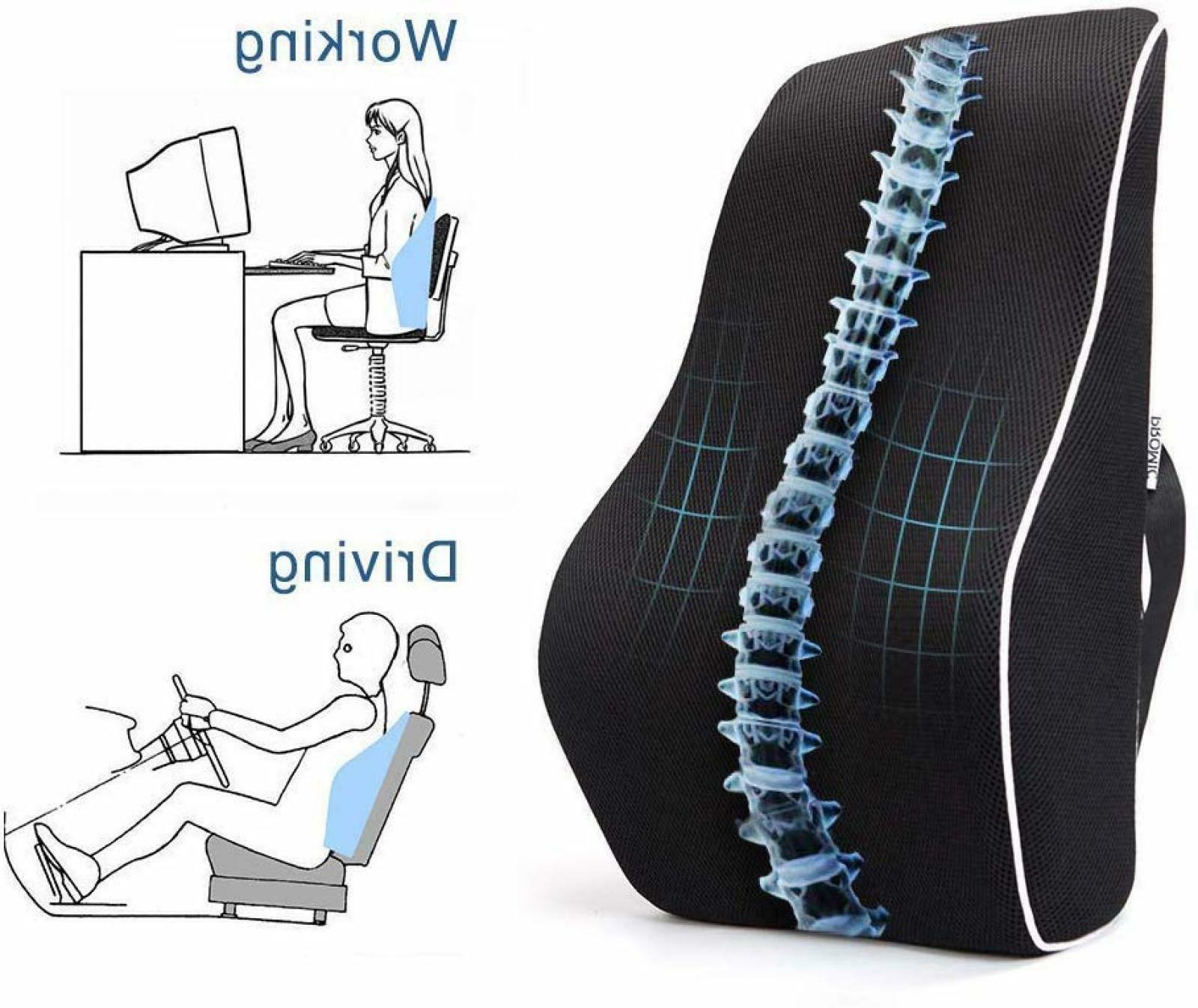 Memory Foam Lumbar Support Back Cushion For Office Desk Chai