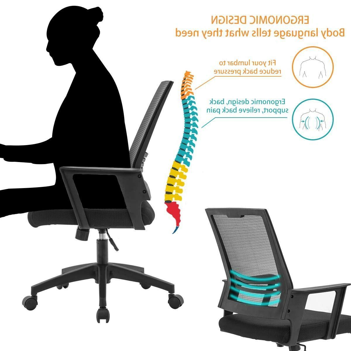 Mesh Swivel Mid Ergonomic Desk Task