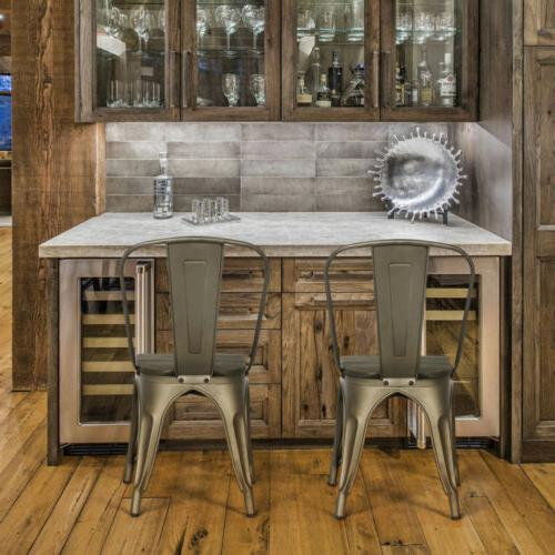 4pcs Metal Dining with Seat Side