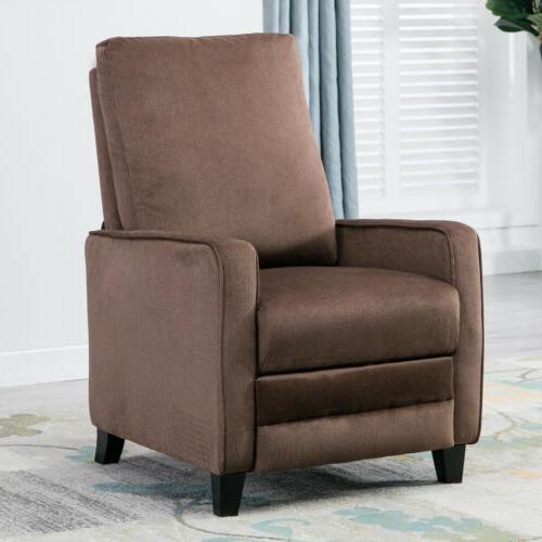 Modern Manual Recliner Chair Linen Track Arm Push Back Livin