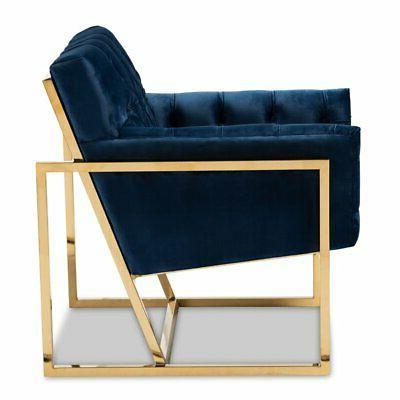 Baxton Milan Navy Velvet Gold Lounge Chair