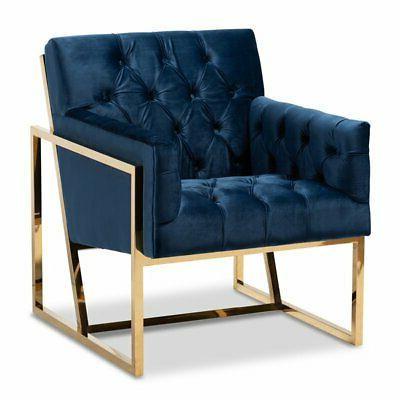 milan navy velvet upholstered gold finished lounge