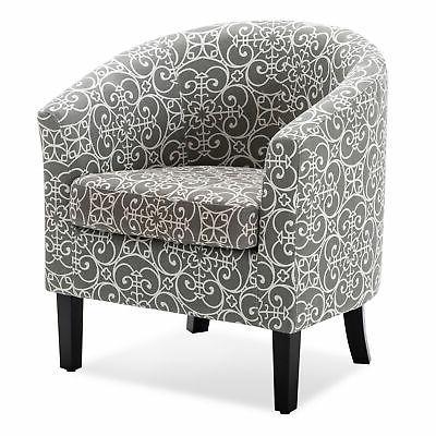 modern club chair tub barrel fabric seat