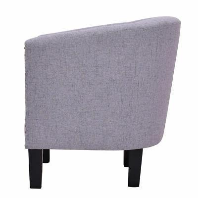 Modern Tub Barrel Seat Accent Fabric Nailhead w/ Cushion Gray