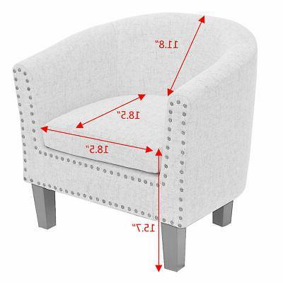Modern Seat Fabric Nailhead w/ Cushion Gray