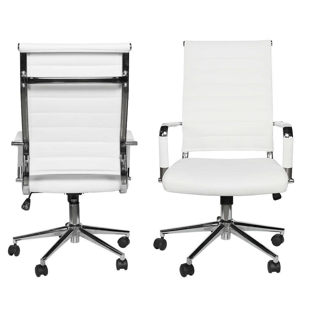 Office PU Computer Adjustable Rolling Swivel White