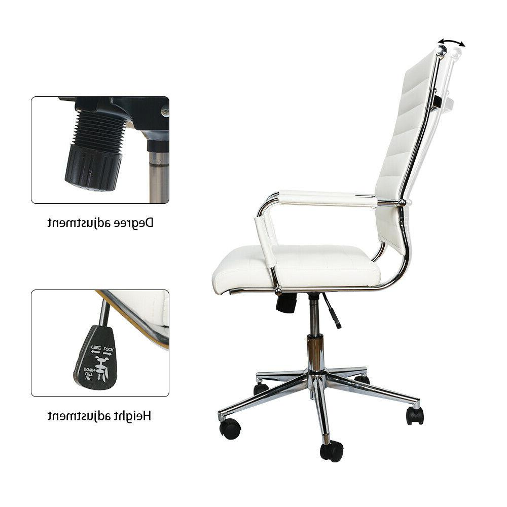 Office Chair High Back PU Height Rolling Swivel White
