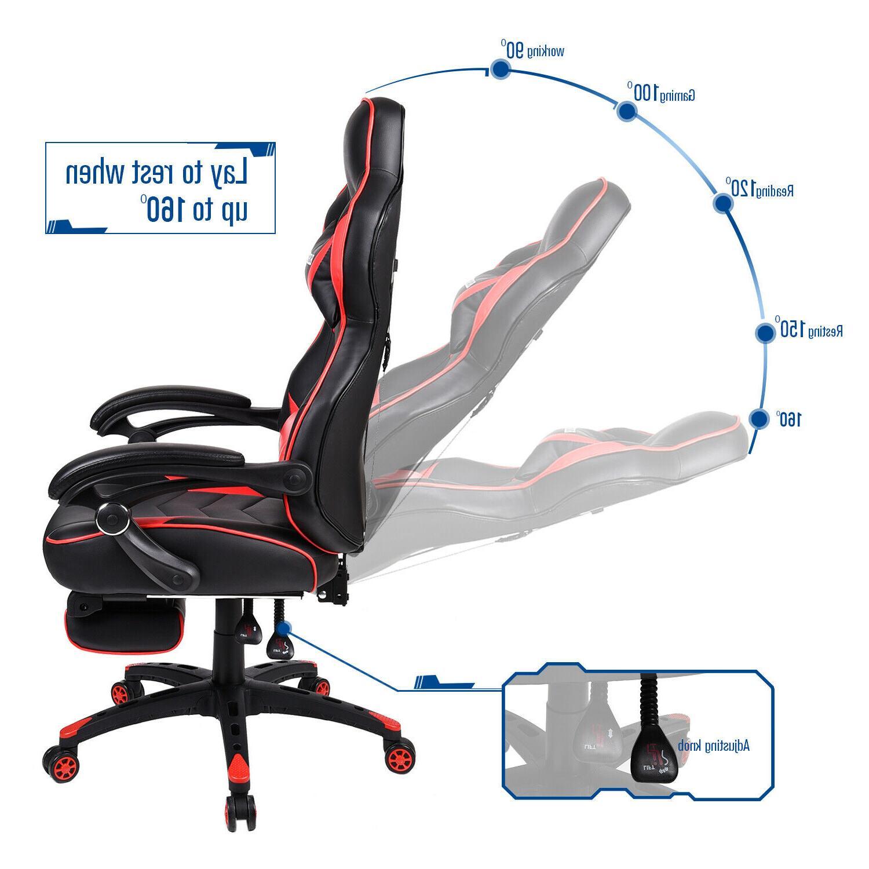 Video Gaming Chair Ergonomic PU Swivel Recliner Footrest