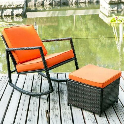 Outdoor 2PC Rocking Chair Rattan Wicker Set Patio Furniture